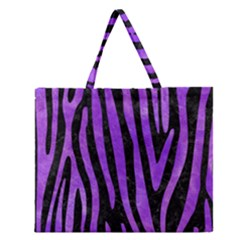 Skin4 Black Marble & Purple Watercolor Zipper Large Tote Bag
