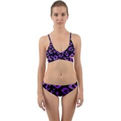 Skin5 Black Marble & Purple Watercolor Wrap Around Bikini Set