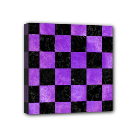 Square1 Black Marble & Purple Watercolor Mini Canvas 4  X 4  by trendistuff