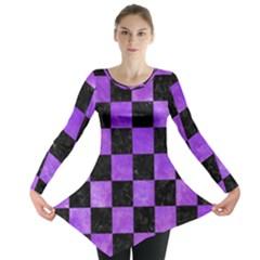 Square1 Black Marble & Purple Watercolor Long Sleeve Tunic  by trendistuff