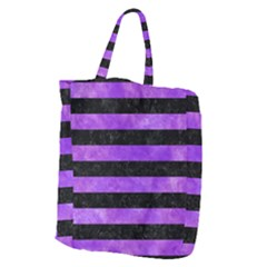 Stripes2 Black Marble & Purple Watercolor Giant Grocery Zipper Tote by trendistuff