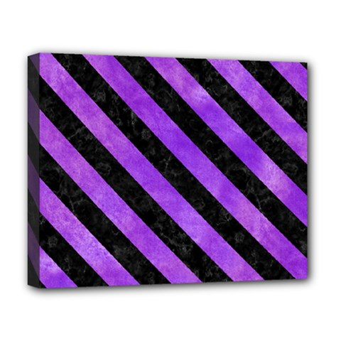 Stripes3 Black Marble & Purple Watercolor Deluxe Canvas 20  X 16   by trendistuff