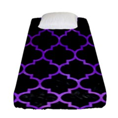 Tile1 Black Marble & Purple Watercolor (r) Fitted Sheet (single Size) by trendistuff