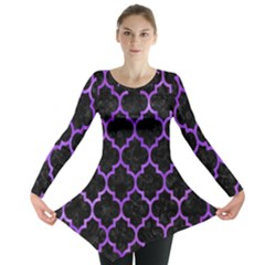 Tile1 Black Marble & Purple Watercolor (r) Long Sleeve Tunic  by trendistuff
