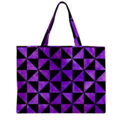 Triangle1 Black Marble & Purple Watercolor Zipper Mini Tote Bag by trendistuff