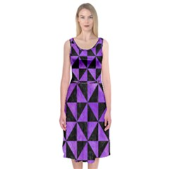 Triangle1 Black Marble & Purple Watercolor Midi Sleeveless Dress
