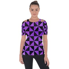 Triangle1 Black Marble & Purple Watercolor Short Sleeve Top by trendistuff