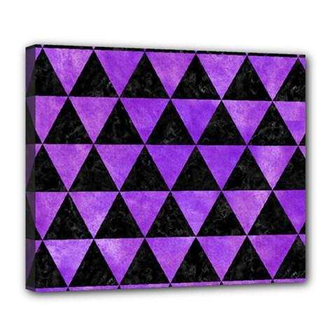 Triangle3 Black Marble & Purple Watercolor Deluxe Canvas 24  X 20   by trendistuff