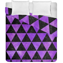 Triangle3 Black Marble & Purple Watercolor Duvet Cover Double Side (california King Size) by trendistuff