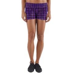 Woven1 Black Marble & Purple Watercolor (r) Yoga Shorts by trendistuff
