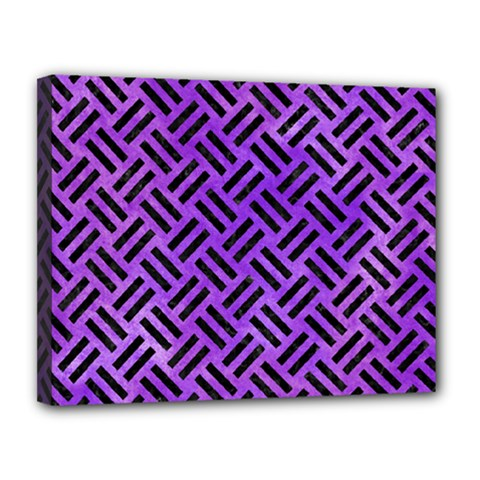 Woven2 Black Marble & Purple Watercolor Canvas 14  X 11  by trendistuff