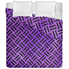 Woven2 Black Marble & Purple Watercolor Duvet Cover Double Side (california King Size) by trendistuff