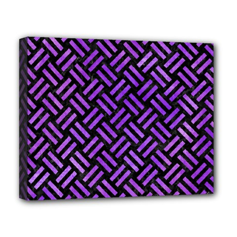 Woven2 Black Marble & Purple Watercolor (r) Deluxe Canvas 20  X 16   by trendistuff