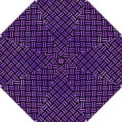 Woven2 Black Marble & Purple Watercolor (r) Hook Handle Umbrellas (small) by trendistuff