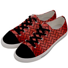 Brick2 Black Marble & Red Brushed Metal Men s Low Top Canvas Sneakers by trendistuff