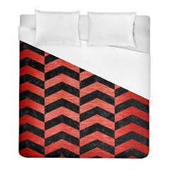 Chevron2 Black Marble & Red Brushed Metal Duvet Cover (full/ Double Size) by trendistuff