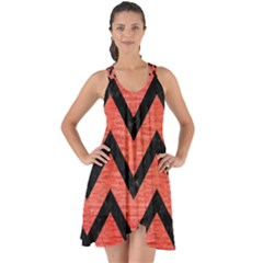Chevron9 Black Marble & Red Brushed Metal Show Some Back Chiffon Dress by trendistuff