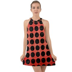 Circles1 Black Marble & Red Brushed Metal Halter Tie Back Chiffon Dress