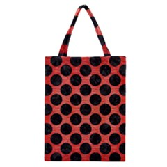 Circles2 Black Marble & Red Brushed Metal Classic Tote Bag by trendistuff