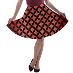 Circles3 Black Marble & Red Brushed Metal A Line Skater Skirt