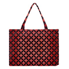 Circles3 Black Marble & Red Brushed Metal Medium Tote Bag by trendistuff