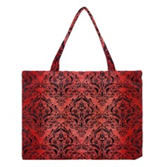 Damask1 Black Marble & Red Brushed Metal Medium Tote Bag by trendistuff