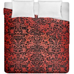 Damask2 Black Marble & Red Brushed Metal Duvet Cover Double Side (king Size) by trendistuff