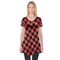 Houndstooth2 Black Marble & Red Brushed Metal Short Sleeve Tunic  by trendistuff