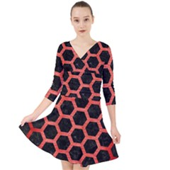 Hexagon2 Black Marble & Red Brushed Metal (r) Quarter Sleeve Front Wrap Dress