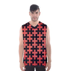 Puzzle1 Black Marble & Red Brushed Metal Men s Basketball Tank Top