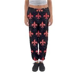 Royal1 Black Marble & Red Brushed Metal Women s Jogger Sweatpants by trendistuff