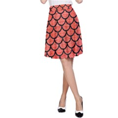 Scales1 Black Marble & Red Brushed Metal A Line Skirt by trendistuff