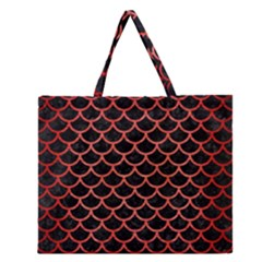 Scales1 Black Marble & Red Brushed Metal (r) Zipper Large Tote Bag by trendistuff