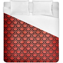 Scales2 Black Marble & Red Brushed Metal Duvet Cover (king Size) by trendistuff