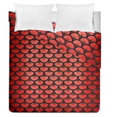 Scales3 Black Marble & Red Brushed Metal Duvet Cover Double Side (queen Size) by trendistuff