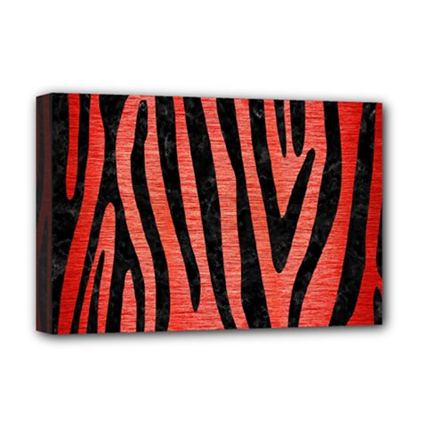 Skin4 Black Marble & Red Brushed Metal (r) Deluxe Canvas 18  X 12   by trendistuff