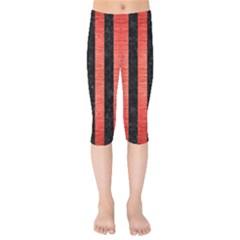 Stripes1 Black Marble & Red Brushed Metal Kids  Capri Leggings  by trendistuff