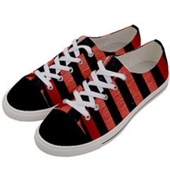 Stripes1 Black Marble & Red Brushed Metal Women s Low Top Canvas Sneakers by trendistuff