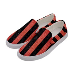 Stripes1 Black Marble & Red Brushed Metal Women s Canvas Slip Ons by trendistuff