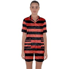 Stripes2 Black Marble & Red Brushed Metal Satin Short Sleeve Pyjamas Set