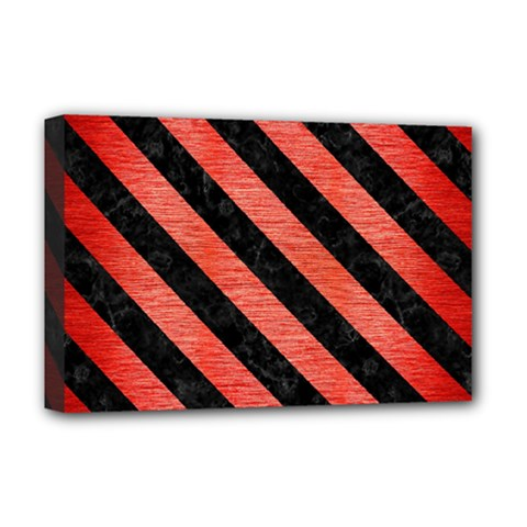Stripes3 Black Marble & Red Brushed Metal Deluxe Canvas 18  X 12   by trendistuff