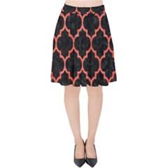 Tile1 Black Marble & Red Brushed Metal (r) Velvet High Waist Skirt by trendistuff