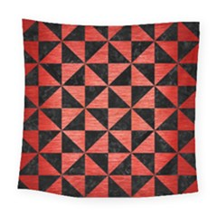 Triangle1 Black Marble & Red Brushed Metal Square Tapestry (large) by trendistuff