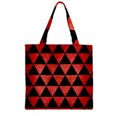 Triangle3 Black Marble & Red Brushed Metal Zipper Grocery Tote Bag by trendistuff