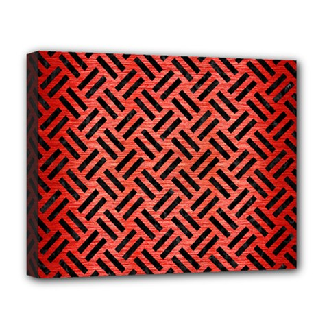 Woven2 Black Marble & Red Brushed Metal Deluxe Canvas 20  X 16   by trendistuff
