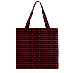 Brick1 Black Marble & Red Colored Pencil (r) Zipper Grocery Tote Bag by trendistuff