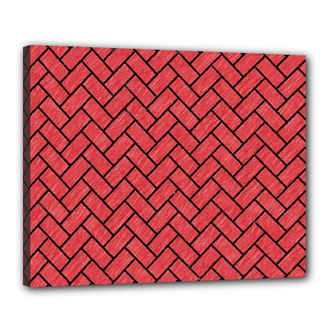 Brick2 Black Marble & Red Colored Pencil Canvas 20  X 16  by trendistuff