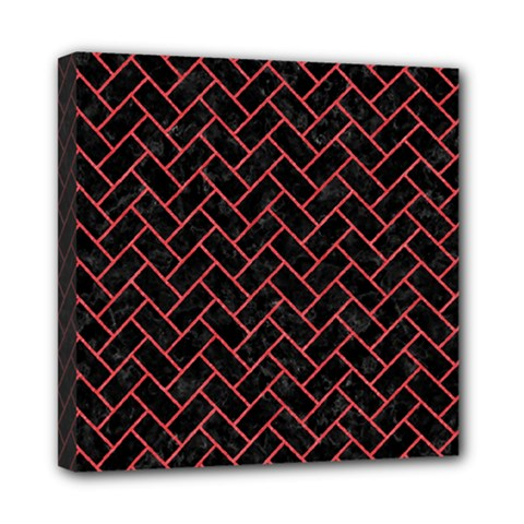 Brick2 Black Marble & Red Colored Pencil (r) Mini Canvas 8  X 8  by trendistuff