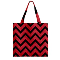 Chevron9 Black Marble & Red Colored Pencil Zipper Grocery Tote Bag