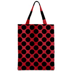 Circles2 Black Marble & Red Colored Pencil Zipper Classic Tote Bag by trendistuff